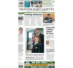 The front page of the Taunton Daily Gazette for Thursday, May 22, 2014.