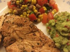 Cajun grilled chicken with lime black-eyes bean salad and guacamole