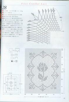 Häkeln Filethäkeln Rose - filet crochet - free pattern