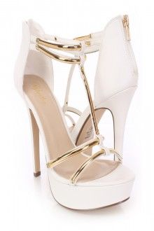 White T Strap Open Toe Heels Faux Leather