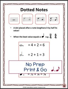 Music Posters: Music Rhythm Dotted Notes Anchor Charts and Worksheets Basic Music Theory, Music Theory Lessons, Music Worksheets, Worksheets For Kids, Music Classroom, Classroom Resources, Middle School Music, Visual And Performing Arts, Elementary Music
