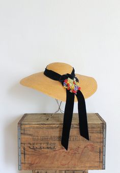 vintage 1930s straw hat 30s wide brim straw floral by fanciness, $168.00
