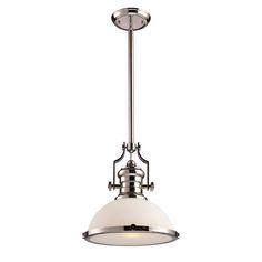 Chadwick Pendant Light, Polished Nickel, White Glass, Island Pendant, ELK Lighting, Kitchen