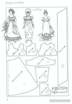 Regency dress pattern for scale dolls Sewing Doll Clothes, Sewing Dolls, Doll Clothes Patterns, Girl Doll Clothes, Doll Patterns, Clothing Patterns, Barbie Sewing Patterns, Costume Patterns, Barbie Mode