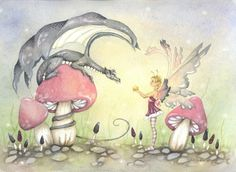 Fairy Art Print - The Gift - fantasy. whimsical. fairy tale. cute. girl. children. pink. grey. by AWoodlandFairyTale on Etsy https://www.etsy.com/listing/78409714/fairy-art-print-the-gift-fantasy