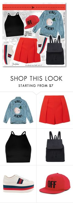 """""""- Shut up -"""" by fashionablemy ❤ liked on Polyvore featuring INDIE HAIR, Être Cécile, Alice + Olivia, Boohoo, Gucci, Off-White, red and blackandred"""