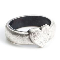 7d8cc7869 Danon solid heart on band ring Heart Charm, Band Rings, Sterling Silver  Jewelry,