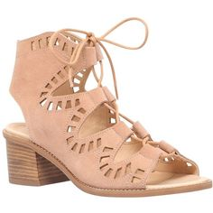 Carvela Cut Out Lace Up Mid Block Heeled Sandals , Nude Suede ($110) ❤ liked on Polyvore featuring shoes, sandals, nude suede, nude flat shoes, heeled sandals, block-heel sandals, nude sandals and boho sandals