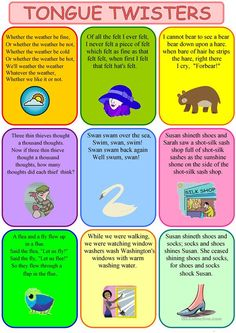 tongue twisters - English ESL Worksheets for distance learning and physical classrooms English Activities, Learning Activities, Public Speaking Activities, Free Activities, Family Activities, English Writing, Teaching English, English Lessons, Learn English