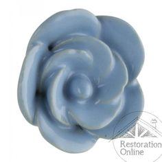 Vintage Furniture Knob - Blue Ceramic Flower Knob