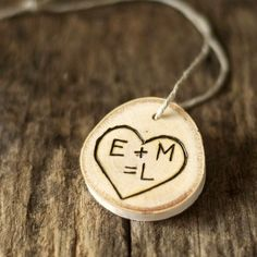 Baby's First Christmas Ornament - Personalized - Tree Branch Slice - Wood Burned - Tree Carved Initials with Heart and Year