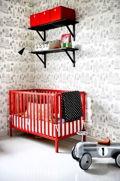 Black and red childrens bedroom - yum!