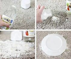 Pet stains on carpet. Use vinegar and baking soda. The steps are important. Pour enough vinegar to soak the stain & THEN add a small amount of baking soda. If you do the reverse, you will have a noisy, bubbly mess. Do it the right way, & you can hear the recipe cackling away, telling you how it is cleaning and deodorizing without leaving any residue. Let the spot dry for a day or two before sweeping up and then vacuuming. Cover the spot with a bowl or plate. Works on old stains too!