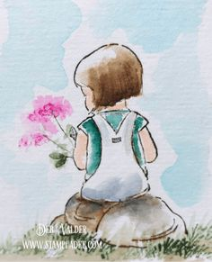 How to Watercolor your Thank You's with Deb Valder I created a watercolor for the thank you cards for my new grandbaby's baby shower using Art Impression Little Girls Set as well as SItting Places Set. Watercolor Girl, Watercolor Drawing, Watercolor Cards, Watercolor Illustration, Painting & Drawing, Watercolor Books, Botanical Illustration, Watercolor Paintings For Beginners, Watercolor Art Lessons