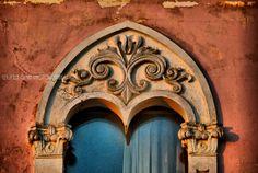 Window old palace. Porto Cesareo. Puglia. Italy