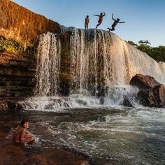 Photo by @CristinaMittermeier.  A group of Kayapo Indian children from the village of Kubenkrajké in the Brazilian Amazon jump off the top of a waterfall into the waters of the Rio Pequeno a tributary of the mighty Xingú River.  #naturelover #beauty #picoftheday #IGhub #love by natgeotravel