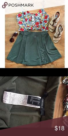FLASH SALE‼️Military Green Faux Sued Skater Skirt Girly and fun! Never worn! Make an offer 😊 NO TRADES Forever 21 Skirts