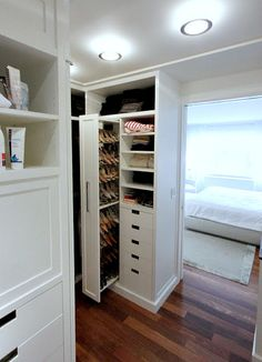 Shoes in the closet, perfectly displayed and takes up less wall real estate!