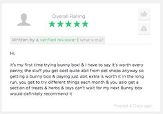 Oooh Bunderful Reviewss!!! Treat your #Bunny Or #Piggy Today Show Them How Much Your Love Them... #BunnyBox #Treats