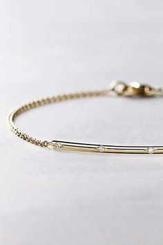 Diamond Arc Bracelet in 14k Gold - anthropologie.com