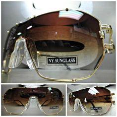 HUGE OVERSIZE VINTAGE RETRO SHIELD Style SUN GLASSES Gold Frame Brown Clear Lens #NYSEyewear #OversizeShieldWrapStyle