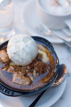 Bread pudding with hot buttered pecan sauce...I HAVE to try this, on the riverwalk at John Besh's restaurant Luke.
