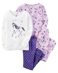 Carters Baby Girls 4 Pc Cotton Purple Horses >>> Check out much more evaluations of the item by seeing the link on the picture. (This is an affiliate link). Toddler Pajamas, Baby Girl Pajamas, Toddler Pants, Carters Baby Girl, Cute Baby Girl Outfits, Cute Baby Clothes, Kids Outfits, Baby Girl Fashion, Kids Fashion