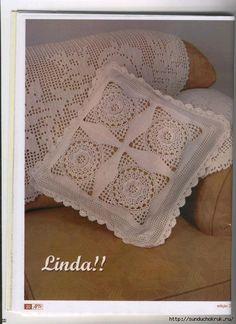 Mania de Arte Barbante 2006 (вязание крючком). Crochet Cushions, Crochet Quilt, Crochet Pillow, Crochet Squares, Crochet Home, Thread Crochet, Irish Crochet, Crochet Doilies, Crochet Stitches Patterns