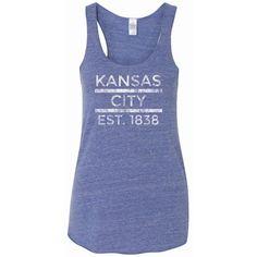 Kansas City Tank Kansas City Strong Kansas Royals Royals Royals... ($20) ❤ liked on Polyvore featuring tops, light purple, tanks, women's clothing, racer back tank, blue tank top, racerback shirt, blue tank and light purple shirt