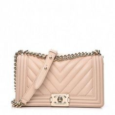 This is an authentic CHANEL Lambskin Chevron Quilted Medium Boy Flap in Beige. This stylish shoulder bag is crafted of chevron padded quilted lambskin leather with a border frame of linear quilted soft leather. Cross Shoulder Bags, White Shoulder Bags, Chain Shoulder Bag, Leather Shoulder Bag, Hermes Handbags, Burberry Handbags, Tote Handbags, Leather Handbags, Pink Handbags