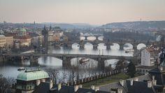 Charles Bridge with other bridges in Prague