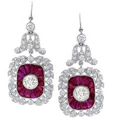 Antique Style 3.12ct Old Mine  Round Cut Diamond  2.87ct Faceted Cut Ruby 18k White Gold Earrings