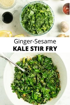 This simple kale stir fry packs a flavor punch! Aromatic ginger and garlic bring a touch of heat, and sesame seeds add protein and crunch to this easy plant-based side dish.    #stirfry #kale #ginger #sesameseeds #vegan #easy #simple Easy Kale Recipes, Kale Salad Recipes, Healthy Recipes, Kale Stir Fry, Toasted Sesame Seeds, Vegan Protein, Fresh Ginger, Superfood, Side Dish