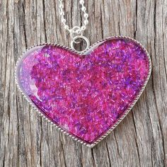 Pink and Purple Seed Bead Resin Heart Pendant $28