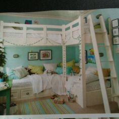 Super cool bunk beds from Southern Living Girl Room, Girls Bedroom, Bedroom Decor, Blue Bedrooms, Bedroom Ideas, Bed Ideas, Bunk Beds Built In, Cool Bunk Beds, Christmas Bedroom