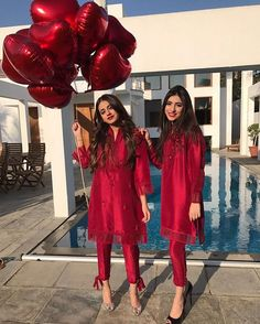 from gorgeous premium Luxe Silk Collection. Arooba and Noor on fire in ruby red! ❤Get the look at their boutique Mondays to Saturdays from 3 PM - 6 PM ❤️👌🏻✨* Pakistani Fashion Casual, Pakistani Dresses Casual, Pakistani Wedding Outfits, Pakistani Dress Design, Indian Dresses, Indian Outfits, Indian Fashion, Casual Dresses, Fashion Dresses