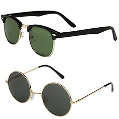 ad4c24174d Mechaly Men s Plastic Classic Clubmaster and Round Lennon Style Sunglasses  (Set of 2 Pairs) (Classic Clubmaster Black   Round Lennon)