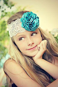 Flower Girl Hair Accessories, Turquoise Flower, Wedding Flower, Bridal Headband, Fascinator. $14.90, via Etsy.