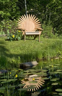 Uniquely themed Adirondack Chairs made from weather durable mahogany.