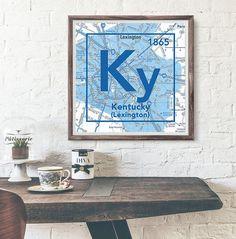 Kentucky Wildcats- University of Kentucky Lexington- Vintage Periodic Map ART PRINT