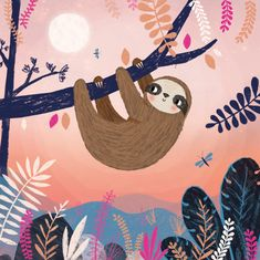 Cut & Stick Design – Illustation and Design For Lovely People Sloth Drawing, Cute Backgrounds For Phones, Amazon Animals, Doodle Characters, Animal Graphic, Cute Sloth, Jungle Animals, Elementary Art, Cute Illustration