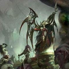 Dark Elves from Warhammer. Witch Elves and Morathi Fantasy Races, High Fantasy, Fantasy Rpg, Dark Fantasy Art, Medieval Fantasy, Fantasy Girl, Fantasy Artwork, Warhammer Dark Elves, Warhammer Fantasy