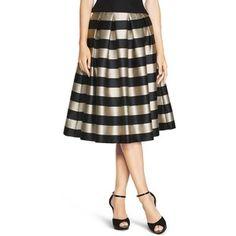 White House Black Market Womens Striped Taffeta Midi Skirt
