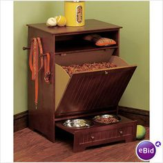 Black Pet Food Cabinet with Bowls Awesome Storage For Big Dog Lovers or Cats on eBid United States