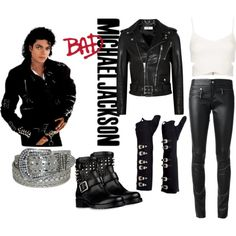Michael Jackson Bad Outfit by constancesimmo on Polyvore featuring Topshop, Yves Saint Laurent, SLY 010 and Valentino