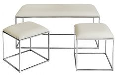 Nickel Bench Set with White Faux Ostrich Upholstery