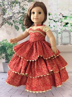 Christmas Ball Gown, Shoes, and Crinoline Custom American Girl Dolls, American Girl Dress, American Doll Clothes, American Girls, Sewing Doll Clothes, Girl Doll Clothes, Doll Clothes Patterns, Doll Fancy Dress, African Dresses For Kids