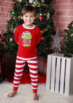 Personalized Baby Christmas PJs Gown Kids by LEmbroideryAndDesign ...