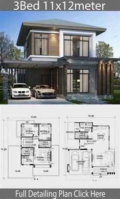 Model House Plan, New House Plans, Small House Plans, House Floor Plans, 2 Storey House Design, Modern House Design, Home Building Design, Building A House, Modern Minimalist House