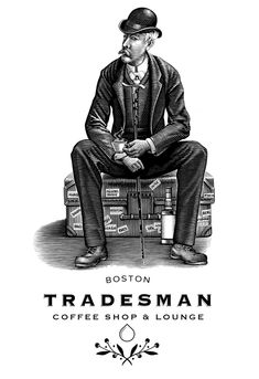 Tradesman Coffee Shop & Lounge Logo by Steven Noble on Behance Lounge Logo, Scratchboard, Creating A Brand, Coffee Shop, People Illustrations, Behance, Typography, Lettering, Fonts